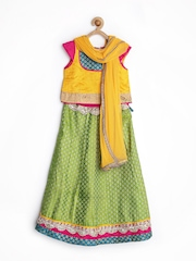 Alpna Kids Girls Yellow & Green Lehenga Choli with Dupatta