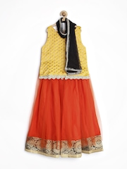 Alpna Kids Girls Yellow & Orange Lehenga Choli with Dupatta