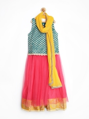 Alpna Kids Girls Green & Pink Lehenga Choli with Dupatta