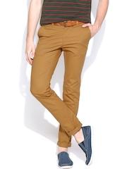 Indian Terrain Men Mustard Brown Brooklyn Fit Chino Trousers