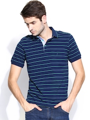 Indian Terrain Men Navy & Green Striped Polo T-shirt