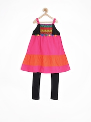Alpna Kids Girls Magenta & Black Churidar Kurta