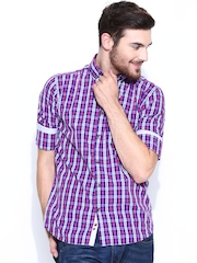 Park Avenue Men Purple & Pink Checked Slim Fit Casual Shirt