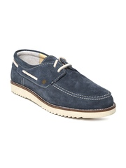 Woodland Men Navy Suede Boat Shoes