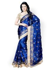 Colors Blue Embroidered Satin & Chiffon Fashion Saree