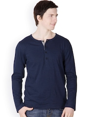 Rigo Men Navy Blue Henley T-shirt