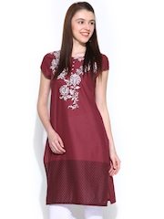 W Women Wine-Coloured Printed Kurta