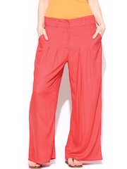 W Women Coral Red Palazzo Trousers