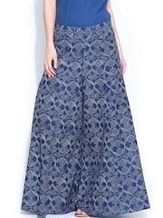 W Women Blue Printed Palazzo Trousers