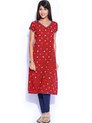 Fabindia Women Red Printed Kurta
