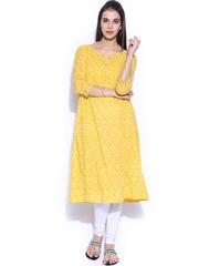 Fabindia Women Yellow Printed Anarkali Kurta