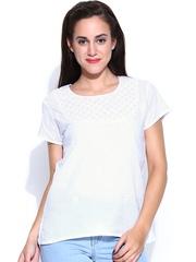 Fabindia Women White Chikankari Embroidered Top
