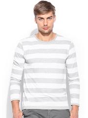 Voi Jeans Men Grey & Cream-Coloured Striped T-shirt