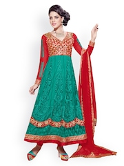 Prafful Green & Red Net Unstitched Dress Material