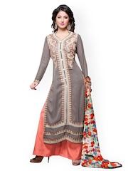 Prafful Grey & Orange Faux Georgette Unstitched Dress Material