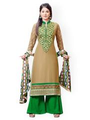 Prafful Brown & Green Faux Georgette Unstitched Dress Material
