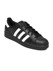 Adidas Originals Men Black Leather Superstar Foundation Casual Shoes