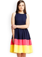 Iti Navy Fit & Flare Dress
