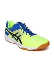 ASICS Men Blue & Neon Green Gel Upcourt Volleyball Shoes