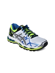 ASICS Women White & Neon Green Gel-Kayano 21 Running Shoes