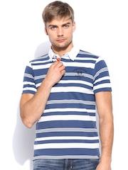 Lee Men Blue & Off-White Striped Polo T-shirt