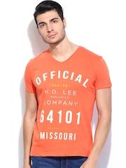 Lee Men Orange Printed T-shirt
