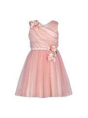CUTECUMBER Girls Peach-Coloured Fit & Flare Dress