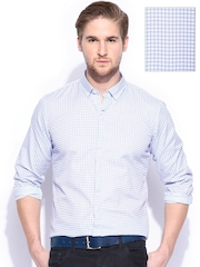 Mast & Harbour Men White & Blue Checked Slim Fit Washed Formal Shirt