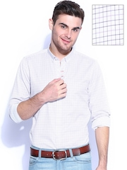 Mast & Harbour Men White & Purple Checked Slim Fit Washed Formal Shirt