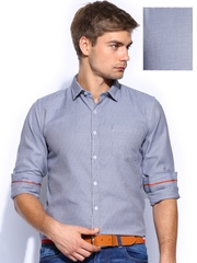 Mast & Harbour Men Blue & Off-White Checked Slim Fit Washed Formal Shirt