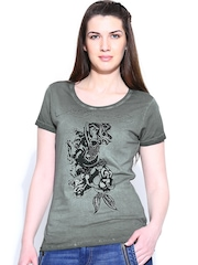 Ed Hardy Women Olive Green Printed T-shirt