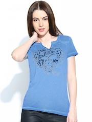 Ed Hardy Women Blue Printed T-shirt