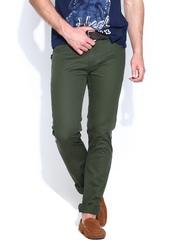 Flying Machine Men Olive Green Slim Fit Jeans