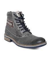 ID Men Charcoal Grey Leather Boots