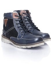 ID Men Navy Leather Boots