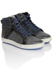 ID Men Grey Leather Casual Shoes