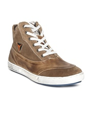 ID Men Tan Brown Leather Casual Shoes