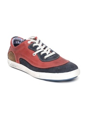 ID Men Red & Navy Leather Casual Shoes