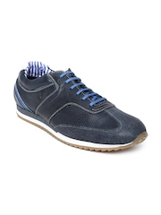 ID Men Navy Leather Casual Shoes