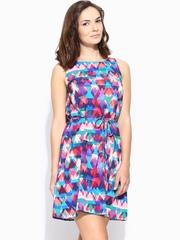 Vero Moda Multicoloured Printed Belted Dress