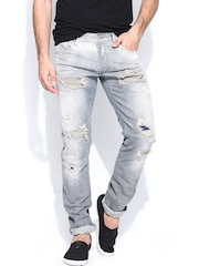 Jack & Jones Men Grey Glenn Slim Fit Jeans