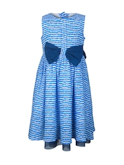 My Lil Berry Girls Blue Printed Fit & Flare Dress