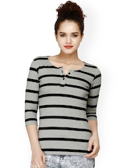 FabAlley Women Grey & Black Striped Henley Top