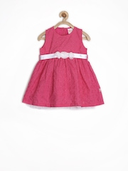 Baby League Infant Girls Pink Embroidered Fit & Flare Dress