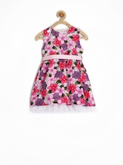 Baby League Infant Girls Pink & White Floral Printed Fit & Flare Dress