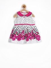 Baby League Infant Girls White Printed Fit & Flare Dress