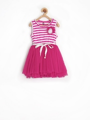 Baby League Infant Girls Pink & White Striped Fit & Flare Tutu Dress