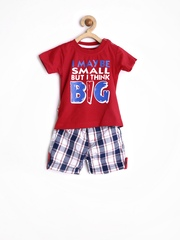 Baby League Infant Boys Red & Navy Blue Clothing Set