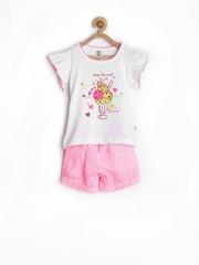 Baby League Infant Girls White & Pink Clothing Set