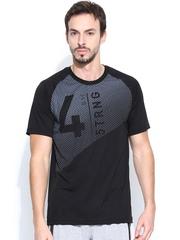 Reebok Men Black OUTLIN GRPHIC T Printed Training T-shirt